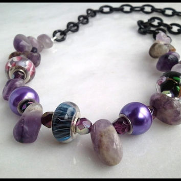Black Chain Purple Amethyst Nugget Women's Necklace | .925 Sterling Silver Lined Glass Bead Gemstone Necklace | Lady Green Eyes Jewelry
