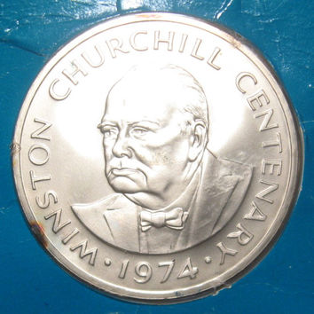 1974 Turks and Caicos Islands Silver Sir Winston Churchill 20 Crowns LOW Mintage Coin  268,000 of These Coins Were Minted