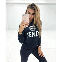 FENDI Fashionable Women Casual Print Long Sleeve Top Pants Set Two-Piece Sportswear Black