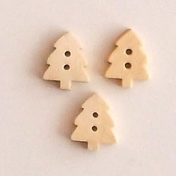 Set of 3 or 5 Christmas Tree Wooden Buttons, Lasercut