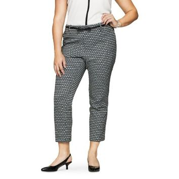 Women's Plus Size Jacquard Ankle Pant Black/White-Merona®