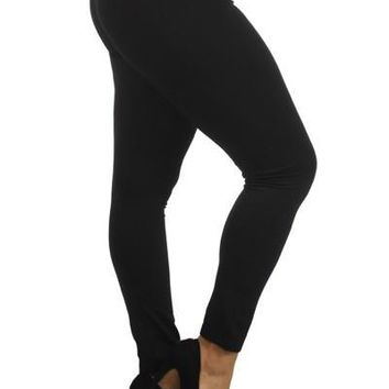 Plus Size Solid Color Fleece Lined Leggings