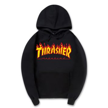 """Thrasher""New flame thickening hoodies sweater letters and line Black"