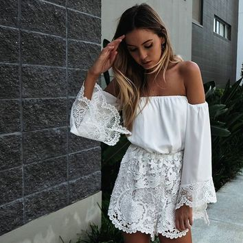 Strapless Lace Patchwork Romper