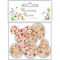 Riverbank Revels Printed Wooden Buttons 20/Pkg, Craft Supply, buttons