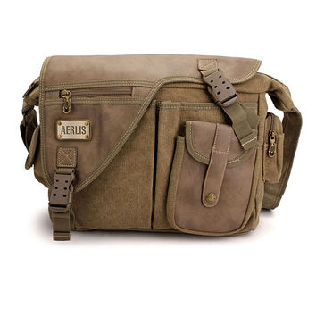 AERLIS Men Vintage Canvas Messenger Bag Shoulder Crossbody Bag
