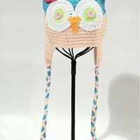 CCA11 Blue And Pink Crochet Knit Hoot Baby Hat Last Call
