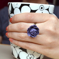 Dark Rose Ring. Deep Royal Purple Resin  Ring. Adjustable. PICK A RING from the Four shown