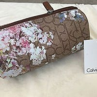 NWT Calvin Klein Brown Logo Floral Round Makeup Clutch Bag