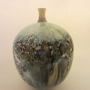 J S Cummings Studio Art Luster Bulbous Signed Pottery Vase