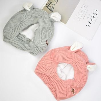 Knitted Winer Warm Baby Hat Cute Ear Neck Warmer Crochet Girl Hats Kids Hats Boys Newborn Boy Cap Baby Accessories