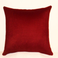 "Pillow Covers 18"" Set of Two - Solid Red Suede"
