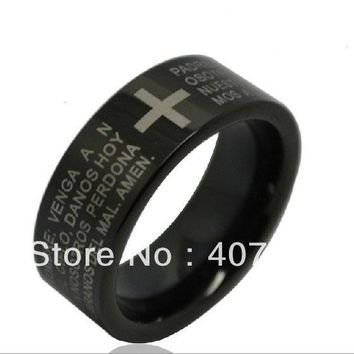 YGK 8mm Black Pipe Classical Religious Holy Bible Design 100% Pure Tungsten Ring for Men and Woman Party