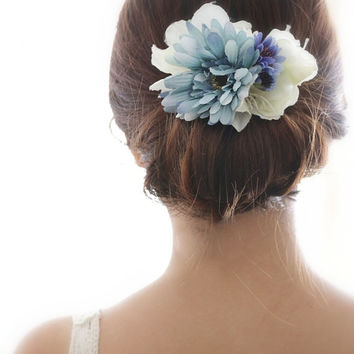 Bridal Hair Accessory, Vintage Blue Sunflower, Silk Flower Hair comb, Bridesmaid gift, Rustic Chic Romantic, outdoor wedding woodland