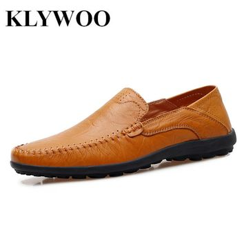 KLYWOO Breathable Men's Casual Leather Boat Shoes Slip-on Penny Loafers Moccasin Fashion Casual Shoes Mens Loafer Driving Shoes