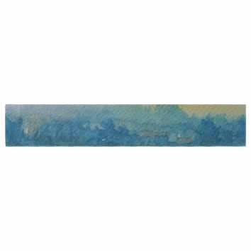 "Cyndi Steen ""Misty Lake"" Yellow Blue Watercolor Table Runner"