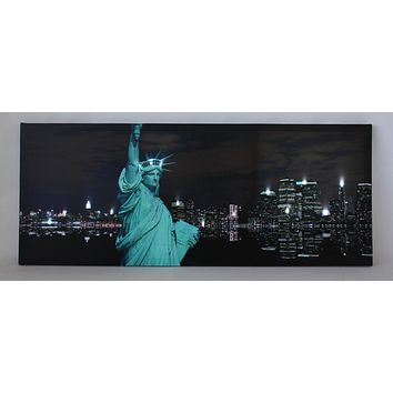 "LED Lighted Statue of Liberty with New York City Skyline Canvas Wall Art 15.75"" x 39.25"""