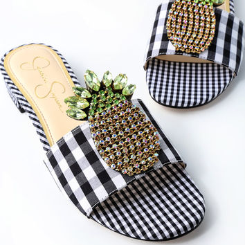 Crizma Black and White Gingham Rhinestone Slide Sandals