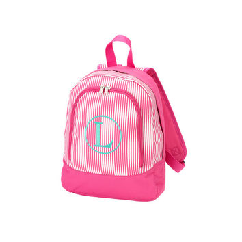 Monogrammed Preschool Backpack Pink Pinstripe Stripe Toddler Bookbag Satchel Back Pack Book Bag