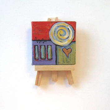 Red Acrylic Miniature Abstract Painting, mini canvas with easel