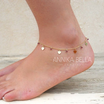 Heart Charms And Beads Anklet, Gold Heart Anklet, Delicate Gold Anklet, Layering Anklet, Heart And Swarovski Ankle Bracelet.