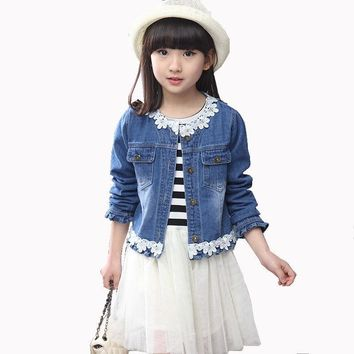 Trendy 2018 Spring Fall Children's Fashion Suit Set of 4-13 Year-old Girl Lace Stitching denim Jacket+striped Dress Two-piece Suit AT_94_13