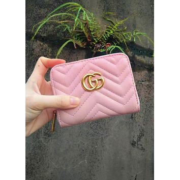 Free shipping-GUCCI classic female zipper wallet Pink