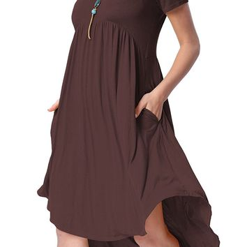 Rufous Short Sleeve High Low Pleated Casual Swing Dress
