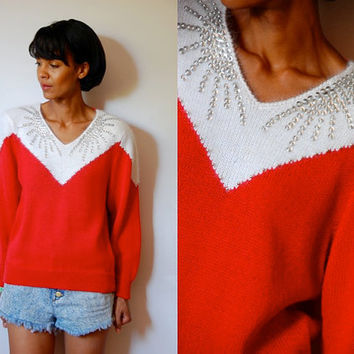 Vtg Silver Sequined & Beaded Angora White Red Knitted Sweater