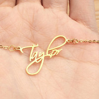 Name Necklace, Personalized necklace, ANY NAME Script font Calligraphy necklace, Script Font necklace