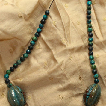 Vintage Retro 1980's Beach Blue/Brown/Green Beaded Choker