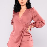 Morgan Satin Romper - Mauve