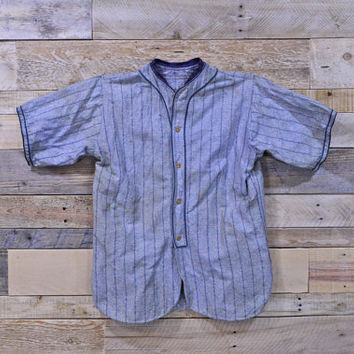 Vintage Wool Flannel Baseball Jersey, Gray And Blue Baseball Jersey, 1920s - 1930s Baseball Uniform