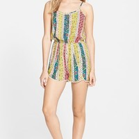 Junior Women's Soprano Pom Trim Print Romper