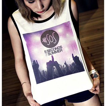 5SOS, 5 Seconds of Summer Shirt Tank Rocker Girl Sexy Summer Sideboob White/Black Women Top Size S, M, L