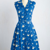 Emily and Fin Bake Shop Browsing Dress in Swallows | Mod Retro Vintage Dresses | ModCloth.com