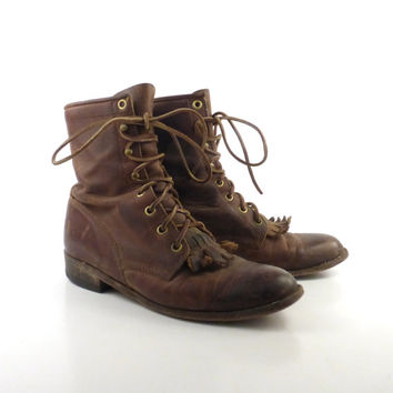 Roper Boots Vintage 1980s Justin  Distressed Brown Lace up Women's size 6 1/2 7