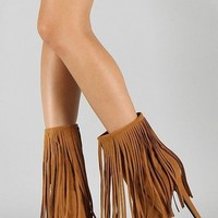 Wild Rose Mid Calf Fringe Boots in Red or Camel | shoes heels high heel shoes trendy shoes stilettos