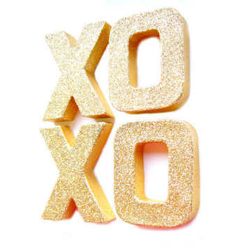 Gold Glitter XOXO Letters - Glitter Letters, Custom Ornament Letters,  Wedding decor, Freestanding Letters, Paper Mache Letters