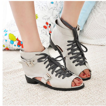 Vintage Cut Out Buckle Peep Toe Lace Up Zipped Casual Ankle Sandals Boots