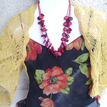 Yellow lace shrug, bolero, lace knitted from pure wool, summer shawl
