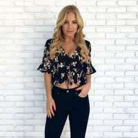 Paris Awaits Floral Peplum Top in Black