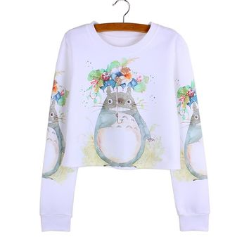 Harajuku flower Totoro print girls crop sweatshirts full sleeve casual ladies Autumn pullover fashion women clothes wholesale