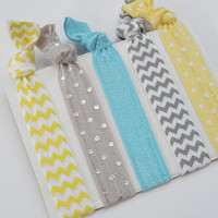 Fold Over Elastic Hair Yellow Silver Turquoise Gray Chevron Polka Dot No Headache Ponytail Holders Yoga Bracelets