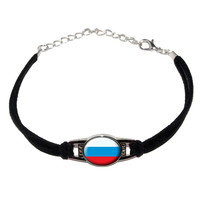Russia Russian Flag Novelty Suede Leather Metal Bracelet