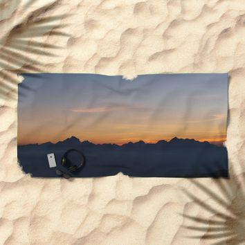 Mountain Range Silhouette Beach Towel by Mixed Imagery