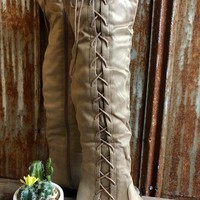 Laced Knee High Boots - Taupe