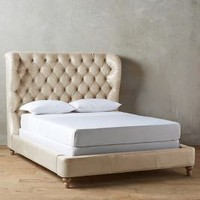 Leather Tufted Wingback Bed by Anthropologie