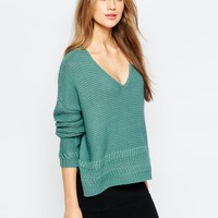 ASOS Ultimate Chunky V Neck Jumper with Stitch Detail at asos.com