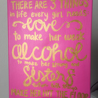 Sorority big little pink and gold canvas